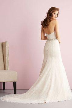 strapless chapel train sleeveless empire column lace wedding dress picture 3