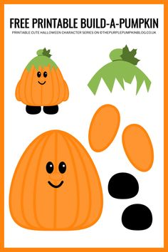 Use this free printable paper pumpkin template to build-a-pumpkin for Halloween! This fun craft helps children improve their cutting and pasting skills. Halloween Paper Crafts, Halloween Crafts For Toddlers, Christmas Crafts For Kids, Toddler Crafts, Preschool Crafts, Easy Halloween, Kids Crafts, Pumpkin Crafts, Paper Pumpkin