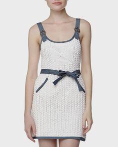 Amazing dress with crochet and denim:  Crochetemoda: Vestido de Crochet
