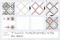 Two Monkeys - tangle pattern by Neil Burley