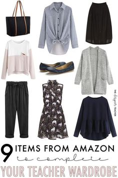 Amazon has some surprisingly cute and inexpensive (okay, that part's not surprising) clothing options for teachers! Find your new favorite teacher clothes on Amazon, all under $50! #style #shopping #teaching Teacher Appropriate Outfits, Casual Teacher Outfit, Summer Teacher Outfits, College Outfits, Summer Outfits, Work Outfits, Teacher Wardrobe, Work Wardrobe, Capsule Wardrobe