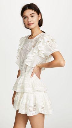 LOVESHACKFANCY Stella Short Sleeved Mini Dress - We Select Dresses Grad Dresses, Casual Dresses, Fashion Dresses, Summer Dresses, Vacation Dresses, Lace Dresses, India Fashion, Girl Fashion, Female Fashion