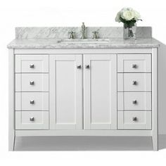 $1,499.92 Ancerre Designs Shelton White Undermount Single Sink Birch  Bathroom Vanity With Natural Marble Top (