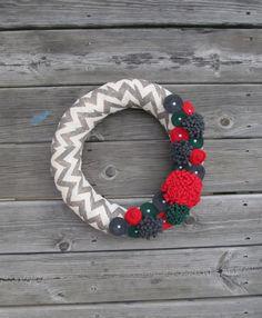 Burlap Christmas Wreath Grey Chevron Burlap by BlossomingBurlap