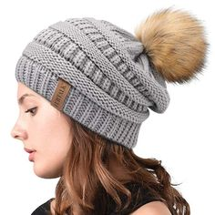 25c2b5671d1 Womens Winter Slouchy Knit Beanie Chunky Faux Fur Pom Poms Hat Bobble Hat  Ski Cap