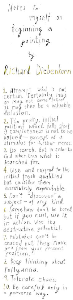 Richard Diebenkorn, Notes to Myself on ArtStack #richard-diebenkorn #art