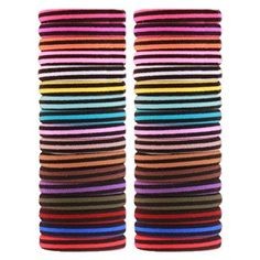 Elastic Hair Ties Ponytail Holders J-MM 55 Count Bulk Double Color Hair Accessories Rubber Bands (Black and Colour) Review