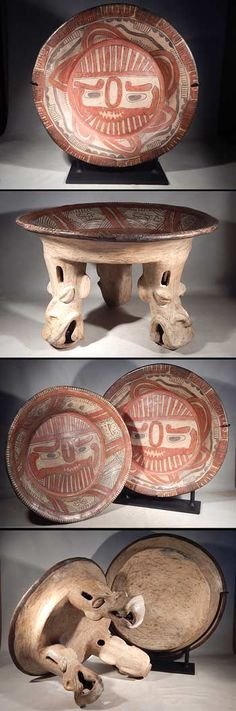 Nicoya Plate and Tripod. Ancient Ruins, Ancient Artifacts, Ancient History, Hispanic Art, Art Assignments, Pacific Rim, Tribal Art, Bearded Men, Old And New