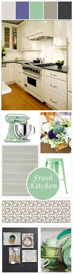 Easy way to bring some minty fresh color into an all white kitchen.