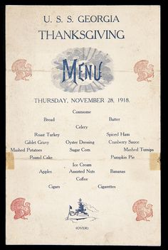 Home away from home: Thanksgiving on base and at sea – Famous Last Words Vintage Menu, Vintage Food, Vintage Ephemera, Vintage Recipes, Vintage Stuff, Giblet Gravy, Oyster Dressing, Assorted Nuts, Historia