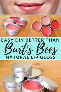 to Make Lip Gloss (Better Than Burt's Bees) Make your own better-than-Burts-Bees lip gloss. How to make lip gloss the cheap and easy way. All-naturalMake your own better-than-Burts-Bees lip gloss. How to make lip gloss the cheap and easy way. All-natural Best Lip Gloss, Diy Lip Gloss, Gloss Matte, Homemade Lip Balm, Diy Lip Balm, Homemade Deodorant, Tinted Lip Balm, Lip Tint, Burts Bees Lip Gloss