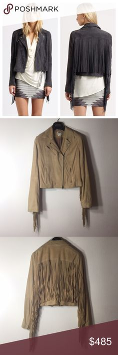 Haute Hippie Nude Fringed Moto Suede Jacket Biker and boho meet on meet on this vintage inspired motorcycle jacket. Suede, fringed, napoleonic collar, Assymetric front zip, long sleeves with fringe, zipper cuffs, front zip pockets, fringed back. Imported. One small color (spot) transfer on the cuff of the sleeve, please see pic. Excellent condition, was previously professionally (leather dry cleaned) see pic. Lined with silk. Please make all offers through the offer button Haute Hippie…