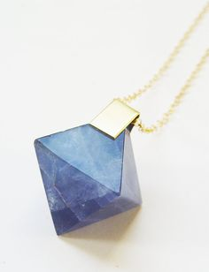 Blue Fluorite Pyramid Gold Necklace  OOAK by friedasophie on Etsy