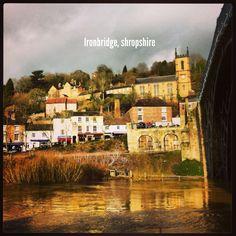 Ironbridge with fast running River Severn River Severn, Running