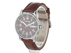 Click to watch this vidWenger Men's 70162 Commando Day Date XL Brown Dial Brown Leather Strap Watcheo