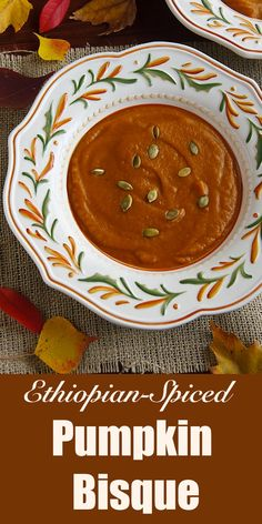 Ethiopian-Spiced Pumpkin Bisque Sultry, spicy, and a little sweet, this creamy, vegan pumpkin soup is flavored with warming Ethiopian spices. Pumpkin Bisque, Spiced Pumpkin Soup, Pumpkin Recipes, Pumpkin Spice, Vegan Soups, Vegan Dishes, Vegetarian Recipes, Baharat Recipe, Bisque Recipe