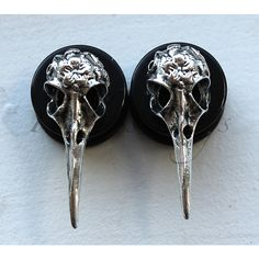 Bird Skull Plugs ($17) ❤ liked on Polyvore featuring jewelry, earrings, plugs, gauges, body jewelry, earrings jewelry, earring charms, earrings body jewelry and bird skull jewelry