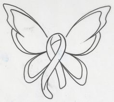 Cancer Ribbon Butterfly Tattoo Stencil