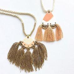 I\'m loving the little details on these tassels... available in the shop now - see link in profile! .  .  .  .  .  #jewellery_kc #tasselnecklace #tasseljewellery #claynecklace #polymerclay #wrappedrope #polymerclaynecklace #pendantnecklace #statementnecklace #statementjewellery #australianhandmade #etsy #etsyau #etsyseller #tasseljewelry #polymerclayjewelry #tassleearrings #tassles #tassel #kelaoke #fibreartist #fiberjewelry #stringharvestmakes