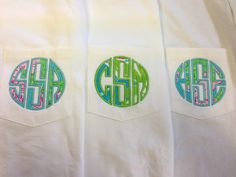 Appliqué pocket tee using Lilly Pulitzer fabric. $28.00, via Etsy.