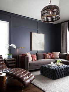 Family Room Design Ideas, Pictures, Remodel and Decor - Elegant Charcoal gray paired with Taupe and Chocolate