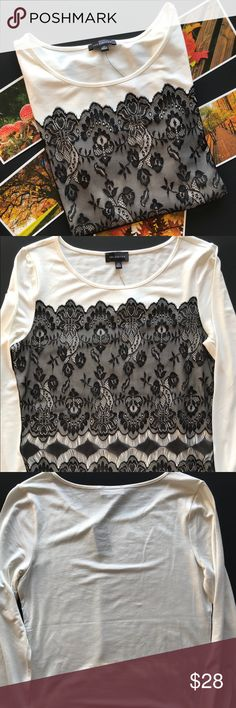 """Limited: White/cream shirt with black lace overlay The Limited: White/cream shirt with black lace overlay. The back is solid color. Size: xsmall. Condition: new with tags. No flaws that I can see. Approximate measurements laying flat: bust 16"""" length 23"""" sleeve 18 1/4"""". Reasonable offers are always welcomed. Sorry no trades or modeling. The Limited Tops"""