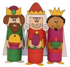 ESPAÇO EDUCAR: Moldes os três reis magos para recortar e montar com rolo de papel! Natal ou dia de reis atividade!