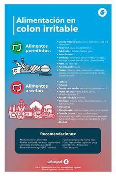 Dieta y colon irritable: alimentos recomendados y prohibidos. #infografia #sii #salud