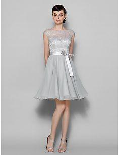 Knee-length Chiffon / Lace Bridesmaid Dress - Silver Plus Sizes / Petite A-line Bateau – USD $ 89.99