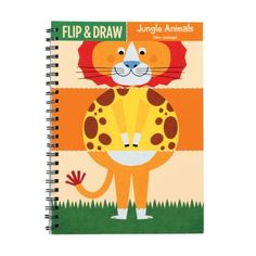 "Jungle Animals Flip and Draw by Mudpuppy. $8.99. Printed with nontoxic, soy-based inks. Wirebound book measures 5-3/4""x 8"" (15 x 20 cm). 15 wirebound sheets cut into three strips. 5 blank sheets for original drawings. 10 mix and match characters to color. From the Manufacturer                It's a mixed-up menagerie with Mudpuppy's Jungle Animals Flip and Draw book. Color a girafflion, or maybe a zebraphant. Or draw your own jungle animal.                    ..."