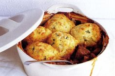 Beef casserole with cheese and potato dumplings