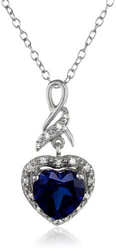 """Sterling Silver, Created Blue Sapphire, and Diamond Heart Pendant Necklace, 18"""" Amazon Curated Collection http://www.amazon.com/dp/B00H5FKJWC/ref=cm_sw_r_pi_dp_bD4cub0WPSCGJ"""