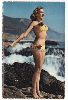 Vintage Postcard, 1960s Beauty Beautiful Pinup Girl in Yellow Bikini, color chrome Italian postcard by maralecollectibles on Etsy