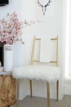 gold and fur chair DIY                                                                                                                                                                                 More