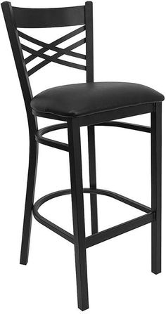 HERCULES Series Black ''X'' Back Metal Restaurant Bar Stool with Black Vinyl Seat XU-6F8BXBK-BAR-BLKV-GG by Flash Furniture