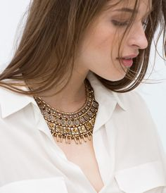 GOLD-TONE AND CRYSTAL NECKLACE-Jewellery-Accessories-WOMAN | ZARA United States