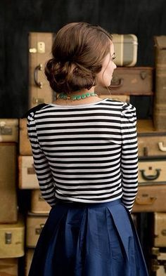 Navy Skirt With Cool Stripes Shirt