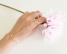 Gold Anchor Bracelet on HOUSEINCONNUE Etsy