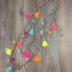 Boho Colar Maxi Necklace 2016 Collares Etnicos Summer Style Multi Layer Necklace Cotton Tassel Cord Handmade Jewelry