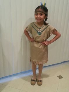 Native American dress out of Pillowcase.  No sew Indian dress.  Thanksgiving. Costume. Diy. Children's dress up. Kids.