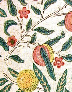 Pomegranate wallpaper by William Morris. Design features oranges, lemons, peaches and pomegranates