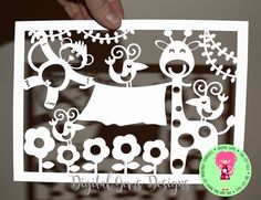 Monkey and Giraffe paper cut svg / dxf / eps files and pdf / Paper Frames, Box Frames, Laser Paper, Paper Cut Design, Congratulations Baby, Cricut Cards, Pop Up Cards, Kirigami, Baby Crafts