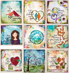 cute little canvases, pretty colors, lovely illustrations