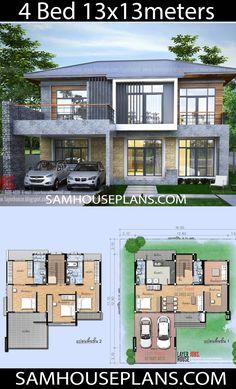 House Plans Idea with 4 bedrooms - Sam House Plans House Balcony Design, Simple House Design, Bungalow House Design, 4 Bedroom House Designs, Hotel Floor Plan, Small House Floor Plans, Family House Plans, House Layout Plans, House Layouts