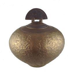 Ceramic Cremation Urn in Bronze Glaze and Semi-Circular Design Lid