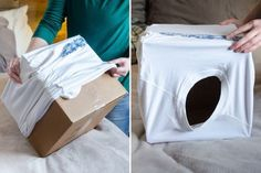 11 Awesome Ways to Repurpose an Empty Cardboard Box - Make a cat tent with an old shirt and a cardboard box. Make a cat tent with an old shir - Cardboard Box Diy, Cardboard Cat House, Cardboard Fireplace, Cardboard Playhouse, Cardboard Toys, Cardboard Furniture, Diy Pour Chien, Diy Cat Tent, Cat House Diy