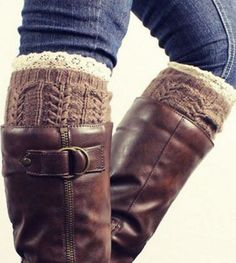 Love Love LOVE Boot Socks! Want! Pair of Stylish Lace Edge Hemp Flower Jacquard Knitted Boot Cuffs For Women #Boot #Socks #Fall #Fashion #Accessories #Must_Haves