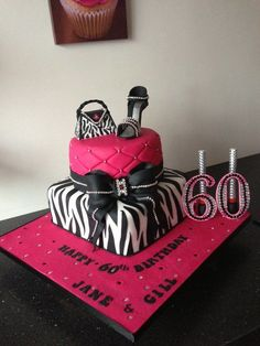 zebra ,pink ,shoes handbag and bling cake - Cake by Donnajanecakes ...