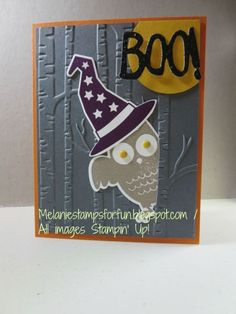 Melaniestamps: Halloween Owl - SU - Howl-o-ween stamp set and matching dies, Woodland EF Halloween Owl, Halloween Projects, Halloween Cards, Halloween Themes, Halloween Decorations, Halloween 2015, Fall Cards, Holiday Cards, Fall Paper Crafts