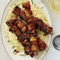 Mahi Mahi Skewers with Ham, Pineapple and Ginger-Soy Glaze